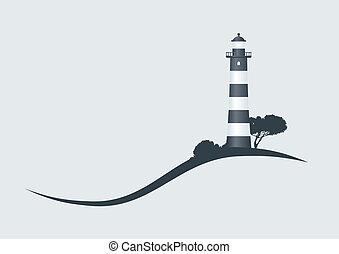 phare, illustration, coteau, vecteur, noir, rayé