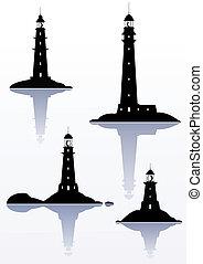 phare, -, isolé, quatre, illustrations, blanc