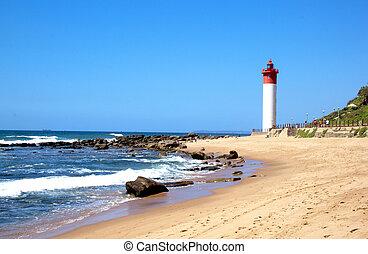 phare, marine, côtier, blanc rouge