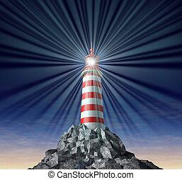 phare, rayonner, symbole, solutions
