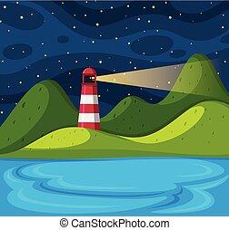 phare, scène, fond, nuit