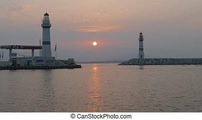 phares, 4k, entrée, sunrise., marina