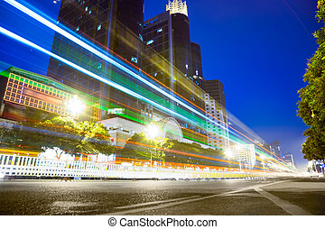 phares, en ville, nightscape, pistes