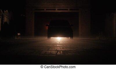 phares, voiture, commutateur, xénon, nuit