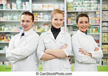 pharmacie, équipe, femmes, pharmacie, chimiste, homme