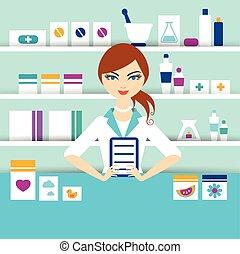 pharmacie, chimiste, girl, jeune, debout, drugstore., vector., plat