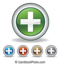 pharmacie, croix, icône