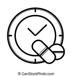 pharmacie, icône, temps
