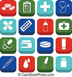 pharmacie, icônes