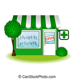 pharmacie, icon., maison, vecteur