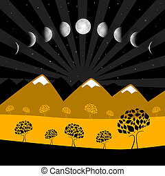 phases, -, arbres, lune, nuit, paysage