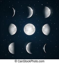 phases, -, ciel, lune, étoiles, nuit