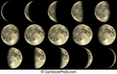 phases, entiers, -, lune jaune