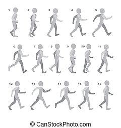 phases, séquence, jeu, marche, étape, animation, blanc, homme, mouvements