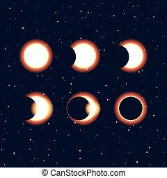 phases, soleil, éclipse, clipa, vecteur, solaire