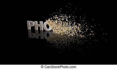 phobie, particules, texte, dissoudre, 3d