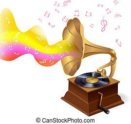 phonographe, musique, fond