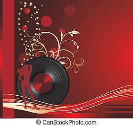 phonographe, record., retro, fond