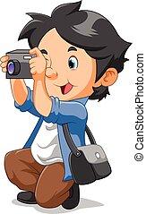 photo, apporter, porter, extérieur, accroupi, garçon, quoique, prendre, sac