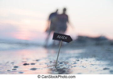 photo, brouillé, idée, fond, vacances, océan, côte, plage