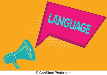 photo, business, parlé, huanalysis, projection, language., écriture, méthode, texte écrit, non plus, mots, communication, conceptuel, main, consister