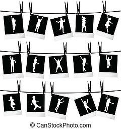 photo, collection, corde, silhouettes, pendre, cadres, enfants