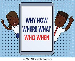 photo, conceptuel, où, questions, demander, pourquoi, comment, question, indice, tablette, business, solutions, trouver, projection, écriture, doigts, device., quel, texte, mâle, smartphone, main, when., femme