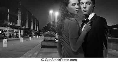 photo, couple, black&white, jeune, séduisant