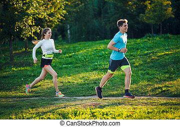 photo, courant, parc, jeune, athlètes