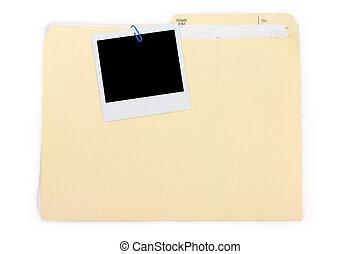 photo, dossier, polaroid, fichier