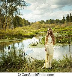photo, fée, femme, romantique, forêt