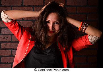 photo, femme, jeune, séduisant