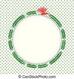 photo, feuilles, fougère, vert, cercle, cadre