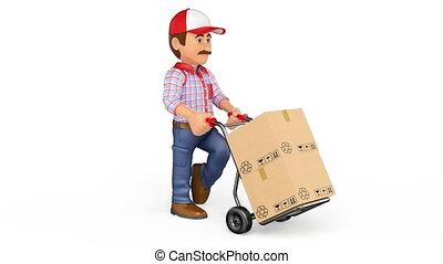 photo-jpg, métrage, pousser, main, livraison, boîtes, animation, camion, fond, blanc, homme, 3d