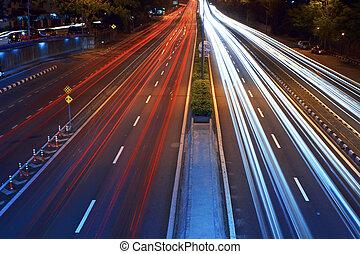 photo, long, brouillé, trafic, voitures, traces, exposition