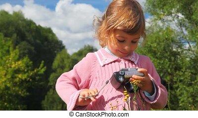 photo, peu, appareil photo, parc, girl