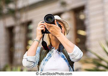 photo, prendre, touriste, ville