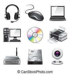 photo-realistic, informatique, ensemble, vecteur, icônes