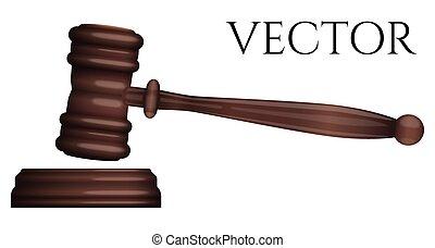 photo-realistic, isolé, juge, vecteur, marteau, blanc