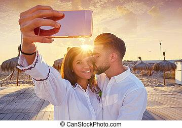 photo, selfie, jeune, vacances, plage, couple