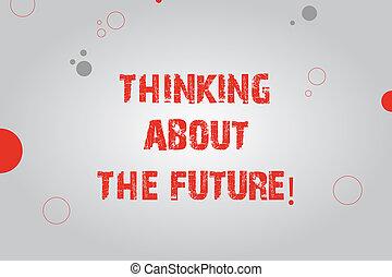 photo, signe, vide, demain, taille, pensée, circles., divers, future., texte, conceptuel, rectangle, plans, projection, faisceau, buts, sur, lumière centre, establishing, confection, rond