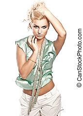 photo, style, mode, blond, jeune