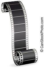 photo, tordu, illustration, rouleau, vecteur, vidéo, fond, bande, blanc, ou, pellicule