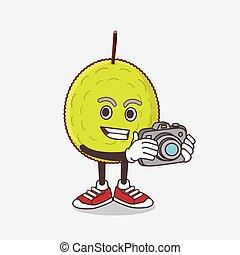 photographe, entawak, mascotte, caractère, dessin animé, fruit, action, appareil photo