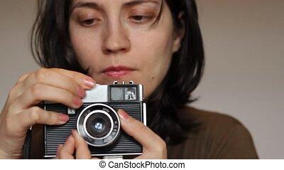 photographe, girl, retro