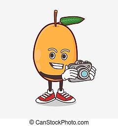 photographe, mascotte, fruit, loquat, dessin animé, action, caractère, appareil photo