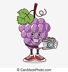 photographe, raisin, mascotte, action, appareil photo, fruit, caractère, dessin animé