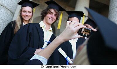 photographié, étudiants, sourire, gradué, être