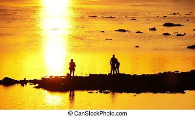 photographie, rivière, coucher soleil