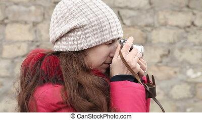 photographies, appareil photo, girl, côté, pellicule, vue
